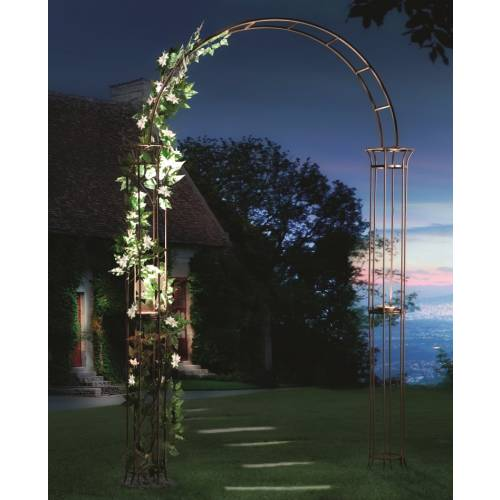 Metal Garden Arch with Solar Light - Roman Style