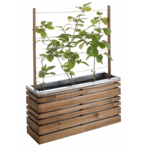 Wood and metal planter with trellis LIGN Z