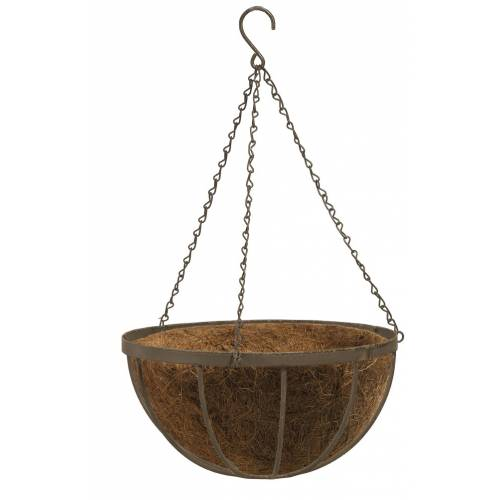 Metal hanging basket with coconut matting - D.40cm